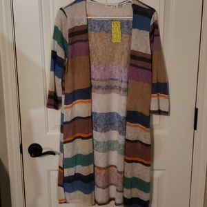 Ginger G multicolored striped long cardigan